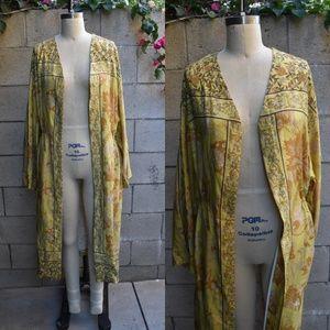 H&M chartreuse kimono maxi dress M